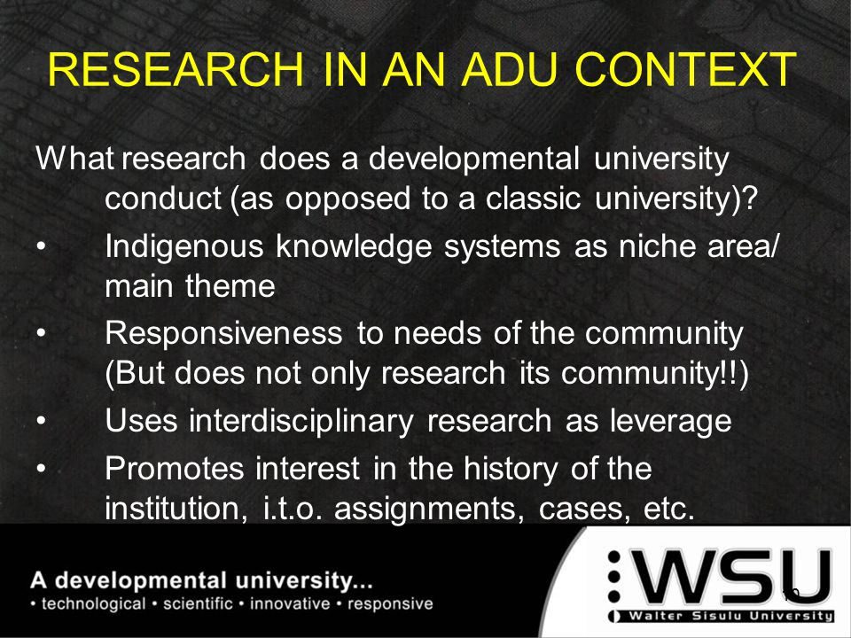 What research does a developmental university conduct (as opposed to a classic university).