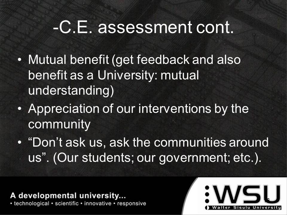 -C.E. assessment cont.