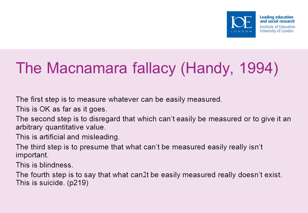 The Macnamara fallacy (Handy, 1994) The first step is to measure whatever can be easily measured. This is OK as far as it goes. The second step is to