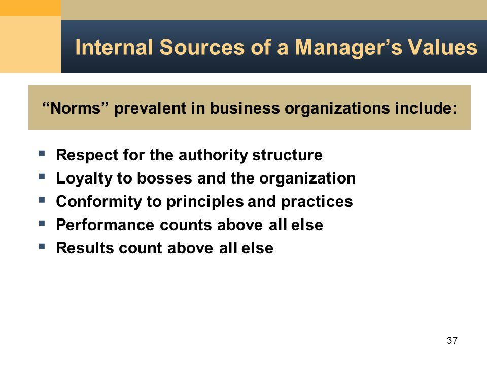 37 Norms prevalent in business organizations include: Internal Sources of a Manager's Values  Respect for the authority structure  Loyalty to bosses and the organization  Conformity to principles and practices  Performance counts above all else  Results count above all else