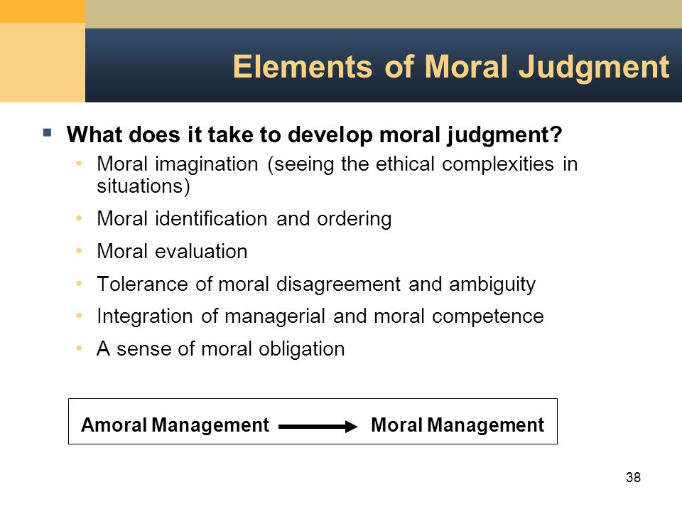 38 Elements of Moral Judgment  What does it take to develop moral judgment.