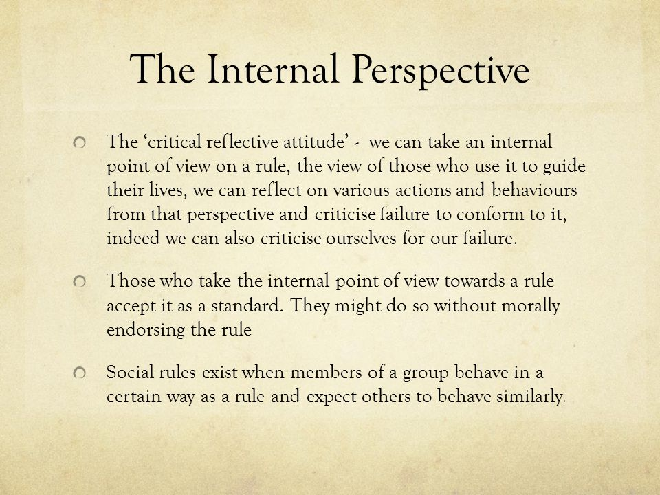 The Internal Perspective The 'critical reflective attitude' - we can take an internal point of view on a rule, the view of those who use it to guide their lives, we can reflect on various actions and behaviours from that perspective and criticise failure to conform to it, indeed we can also criticise ourselves for our failure.