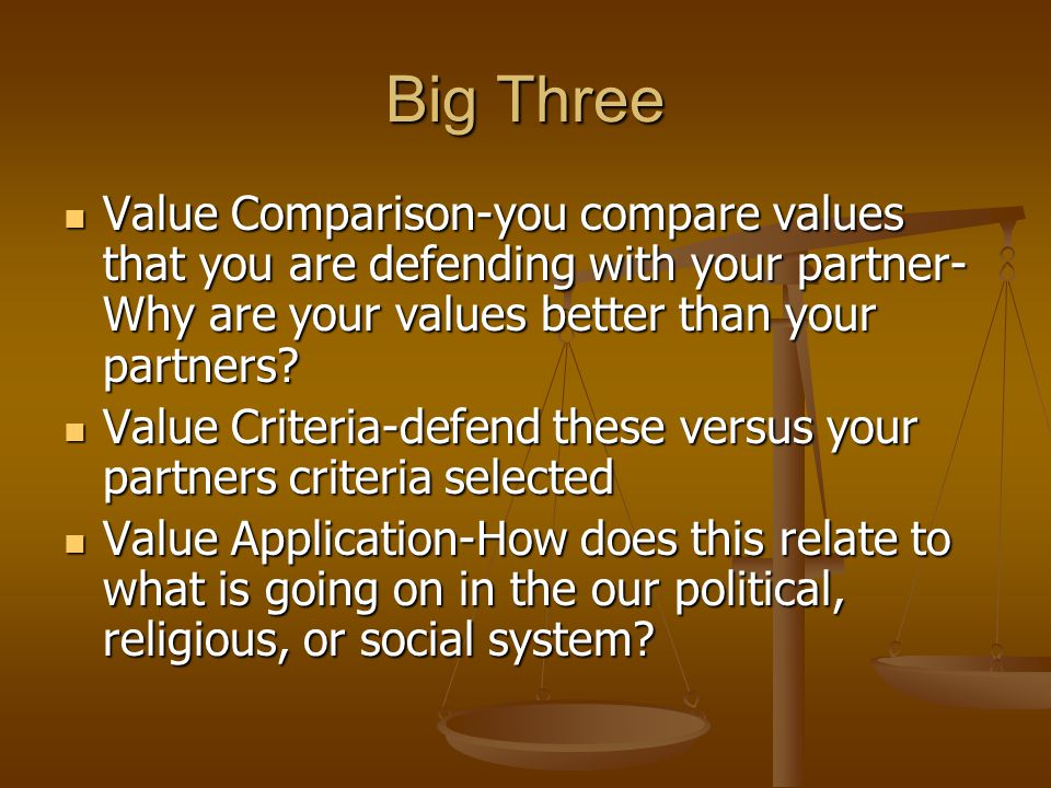 Big Three Value Comparison-you compare values that you are defending with your partner- Why are your values better than your partners? Value Compariso