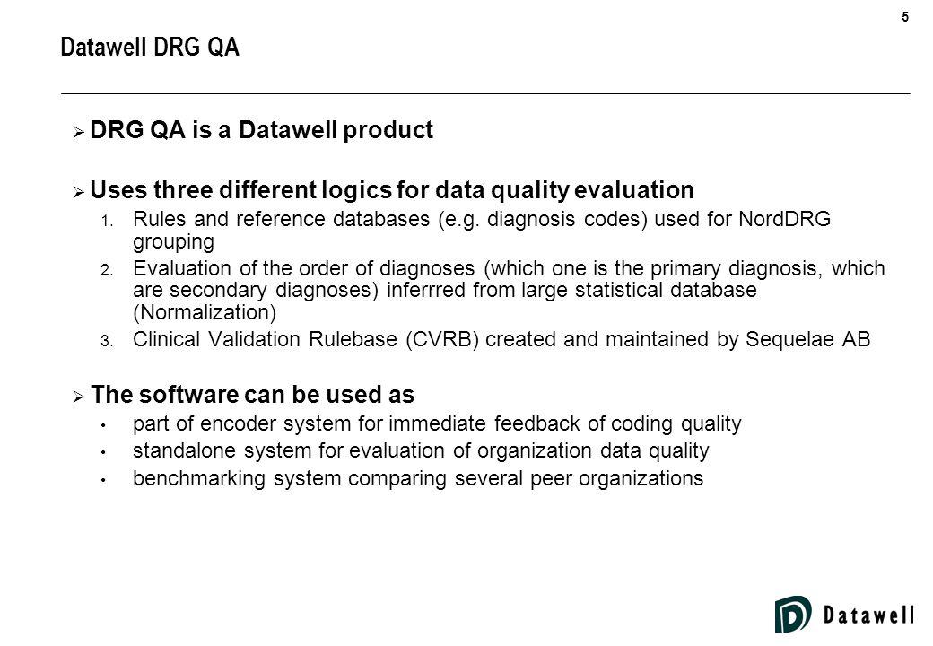 6 PatIdDg-aDg-dPrLOSAgeDischgSex 132133134HOMEM 43242H10.1J80WX101154HOMEN 43242 F0289 E756 GD1BD63HOSPN 64243V02.0241HOMEN 34212O75.7MAF00434HOMEM DRG QA – An Example of Indicator Calculation Logic Age not within acceptable limits External cause code as principal diagnosis Input data set Erroneous ICD-10 code Missing principal diagnosis PatIdDg-aDg-dPrLOSAgeDischgSex 132133134HOMEM 43242H10.1J80WX101154HOMEN 43242 F0289 E756 GD1BD63HOSPN 64243V02.0241HOMEN 34212O75.7MAF00434HOMEM Local procedure code Mismatch of diagnosis and gender Validations