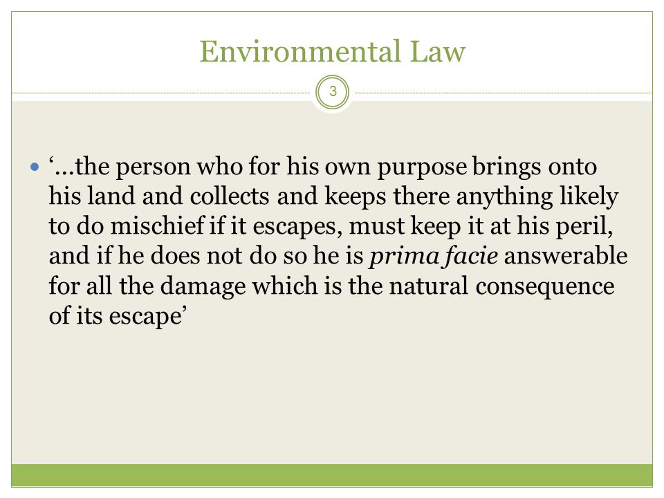 Environmental Law 3 '...the person who for his own purpose brings onto his land and collects and keeps there anything likely to do mischief if it esca