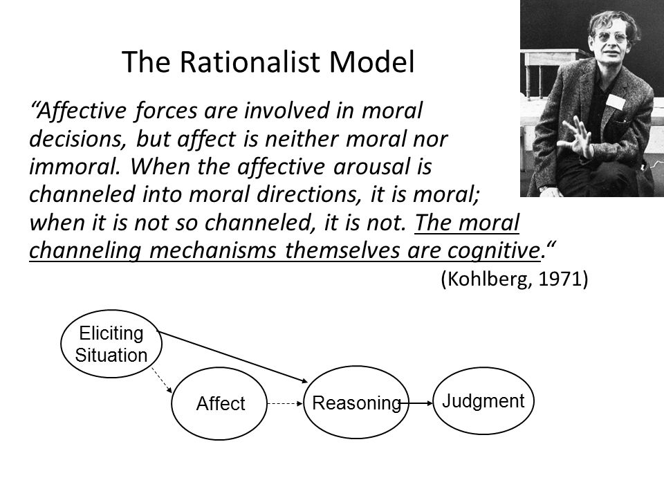 The Rationalist Model Affective forces are involved in moral decisions, but affect is neither moral nor immoral.