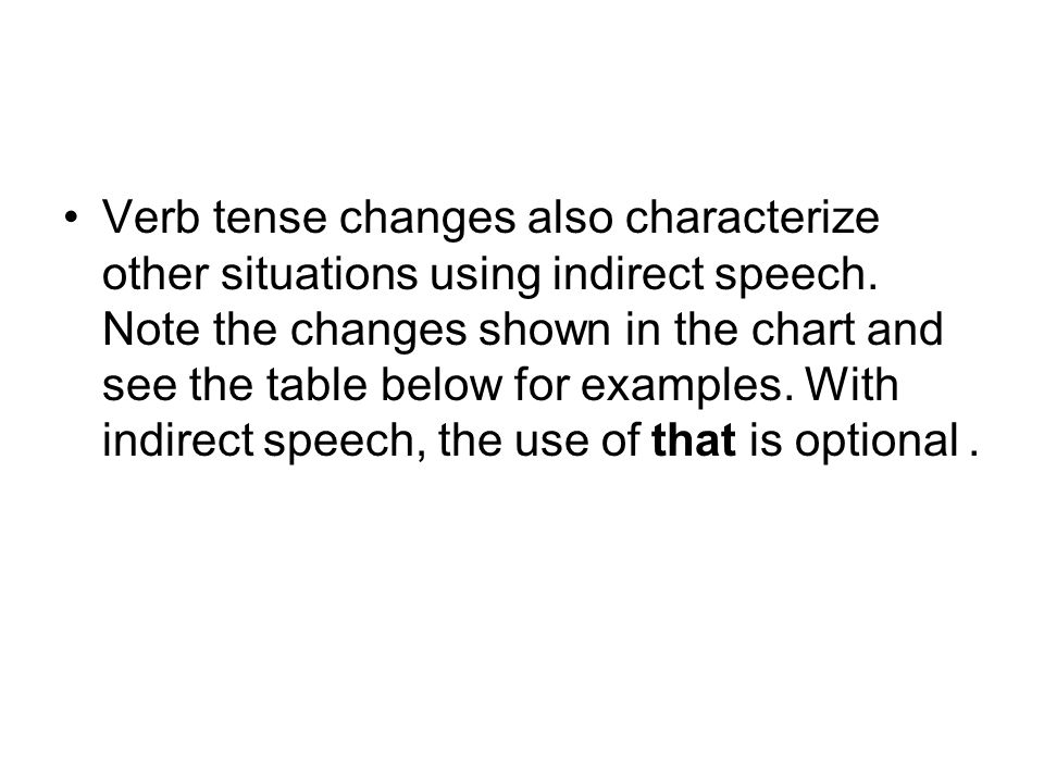 Verb tense changes also characterize other situations using indirect speech.