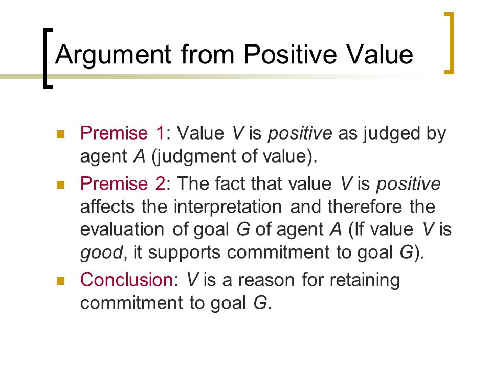 Argument from Negative Value Premise 1: Value V is negative as judged by agent A (judgment value).
