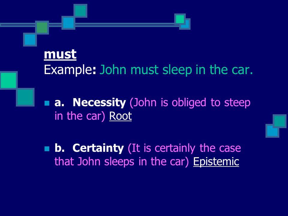 must Example: John must sleep in the car.