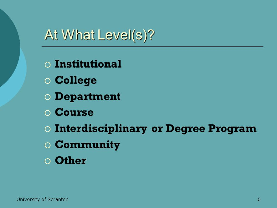 University of Scranton6 At What Level(s).