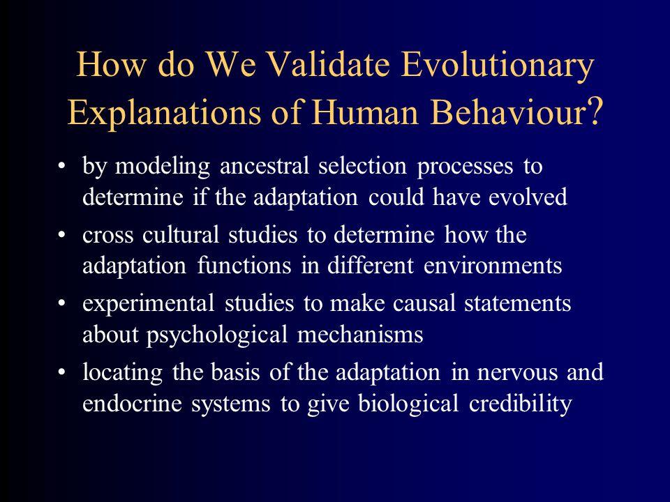 How do We Validate Evolutionary Explanations of Human Behaviour .