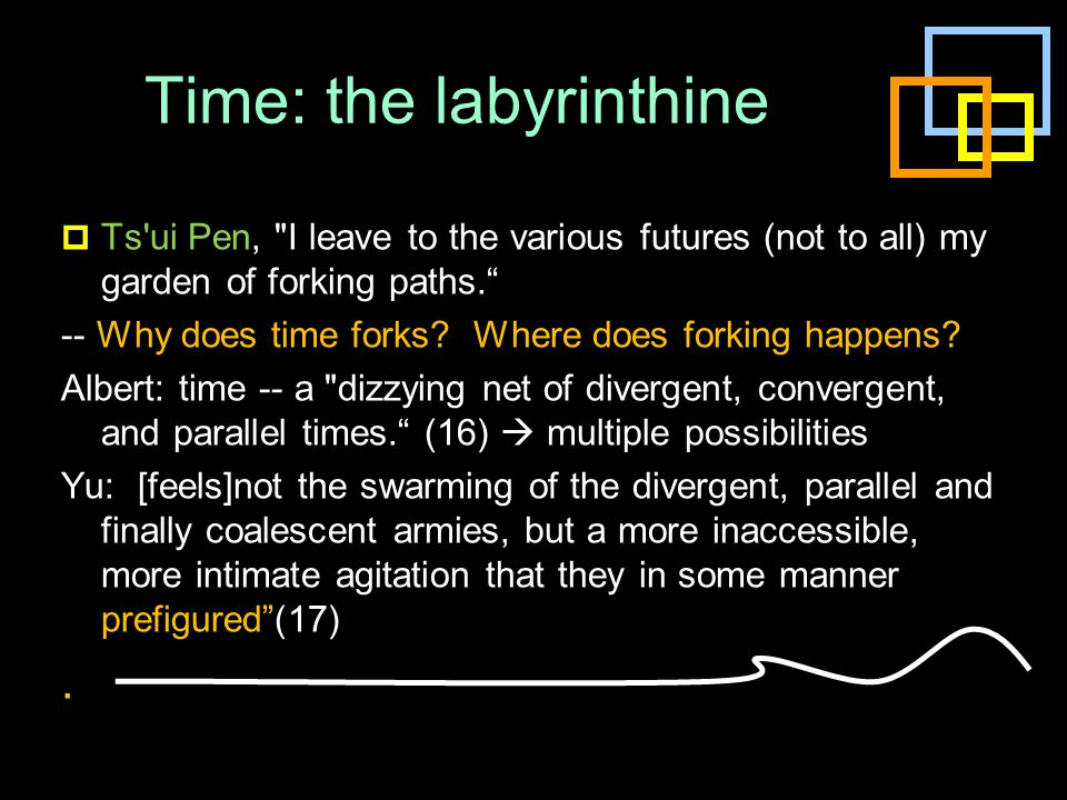 Time: the labyrinthine  Ts'ui Pen,
