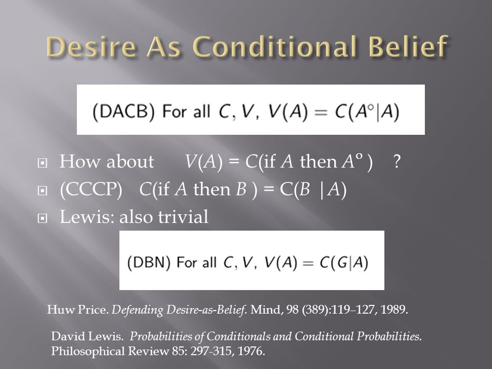 Huw Price. Defending Desire-as-Belief. Mind, 98 (389):119–127, 1989.