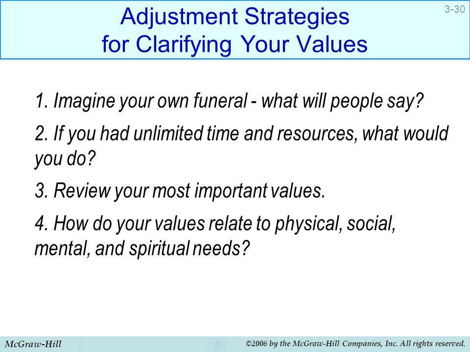 McGraw-Hill ©2006 by the McGraw-Hill Companies, Inc. All rights reserved. 3-30 Adjustment Strategies for Clarifying Your Values 1. Imagine your own fu