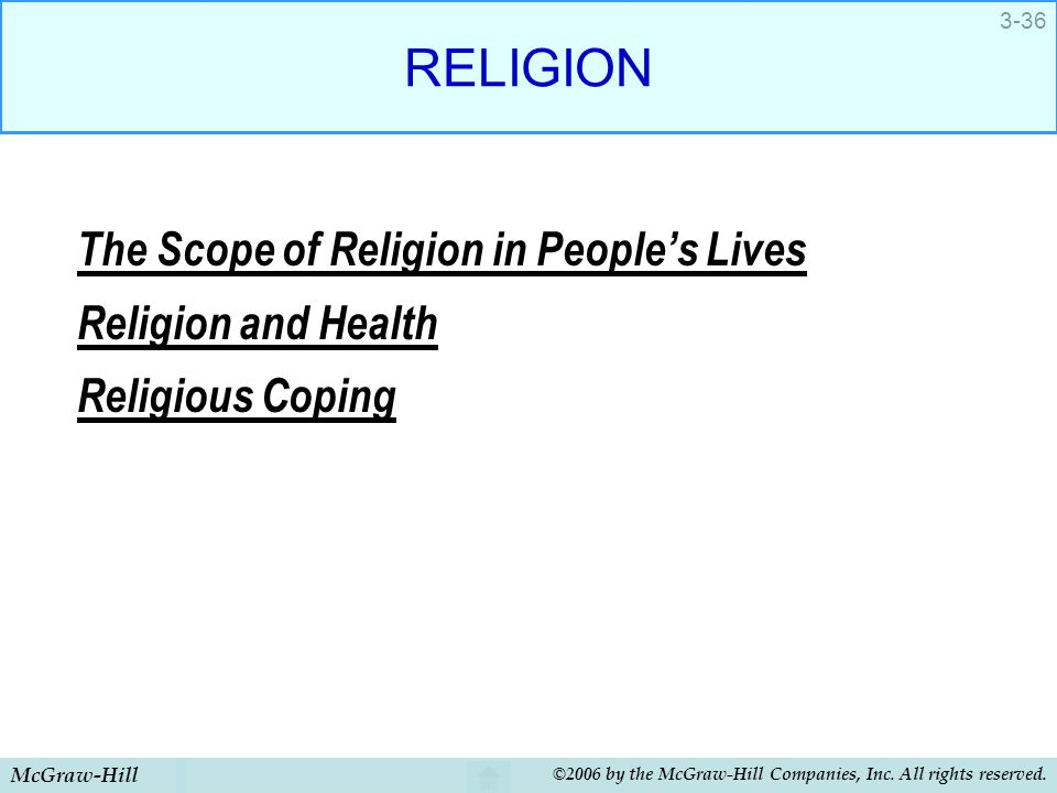 McGraw-Hill ©2006 by the McGraw-Hill Companies, Inc. All rights reserved. 3-36 RELIGION The Scope of Religion in People's Lives Religion and Health Re