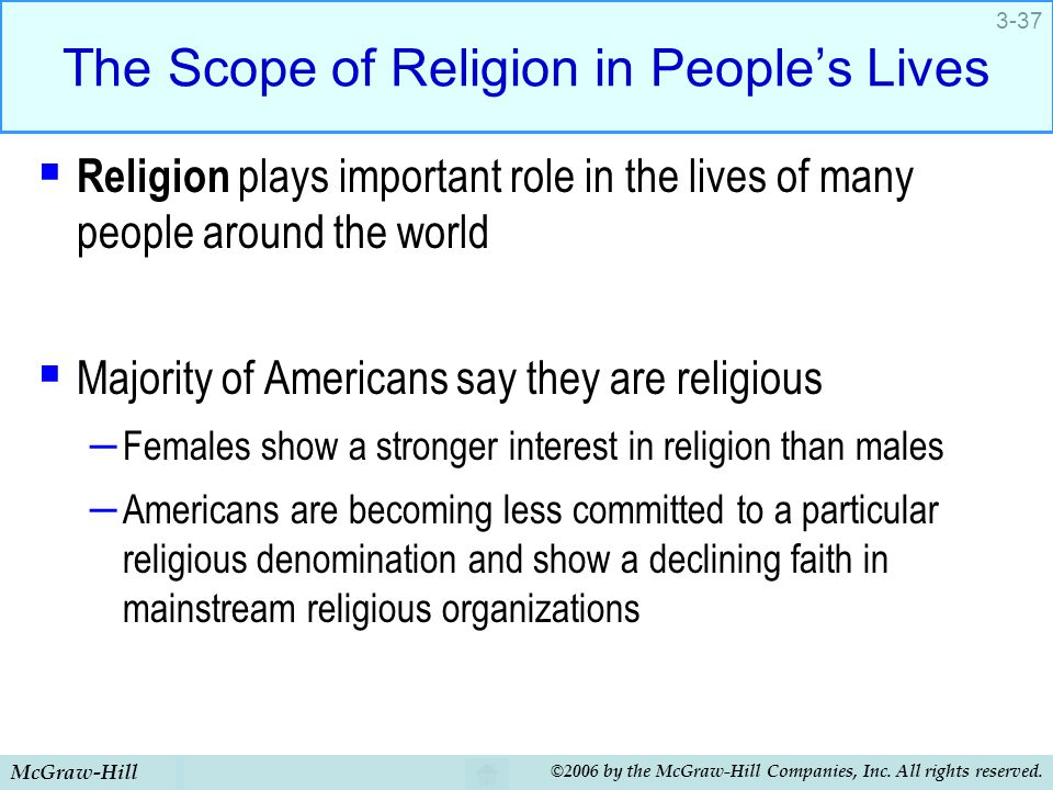 McGraw-Hill ©2006 by the McGraw-Hill Companies, Inc. All rights reserved. 3-37 The Scope of Religion in People's Lives  Religion plays important role