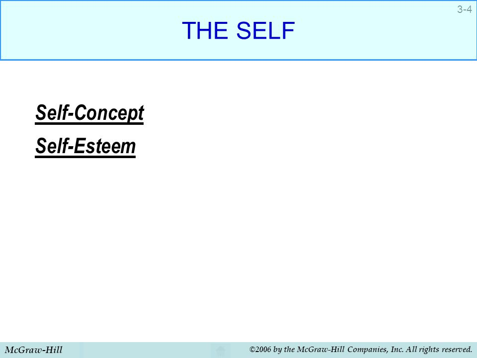 McGraw-Hill ©2006 by the McGraw-Hill Companies, Inc. All rights reserved. 3-4 THE SELF Self-Concept Self-Esteem