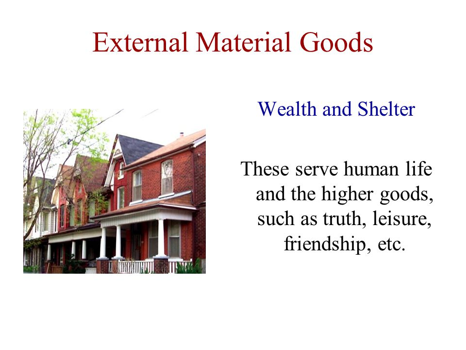 External Material Goods Wealth and Shelter These serve human life and the higher goods, such as truth, leisure, friendship, etc.