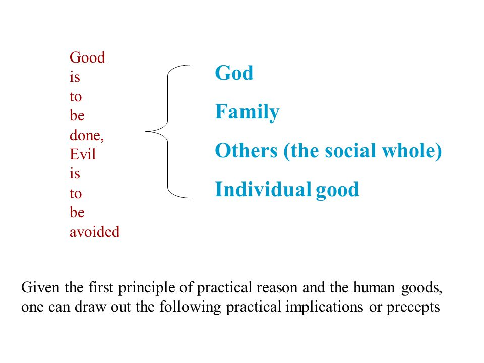 God Family Others (the social whole) Individual good Good is to be done, Evil is to be avoided Given the first principle of practical reason and the h