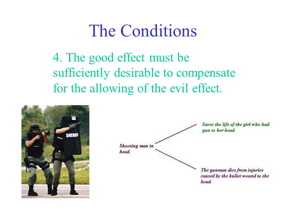 The Conditions 4. The good effect must be sufficiently desirable to compensate for the allowing of the evil effect.