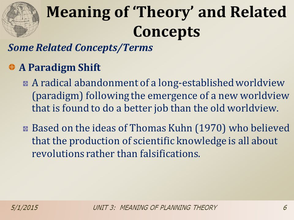 Meaning of 'Theory' and Related Concepts Some Related Concepts/Terms A Paradigm Shift A radical abandonment of a long-established worldview (paradigm)