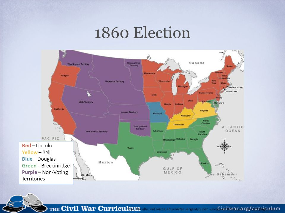 Election of 1860 November 6, 1860: Lincoln Elected President December 20, 1860: South Carolina secedes January 9, 1861: Mississippi secedes January 10, 1861: Florida secedes January 11, 1861: Alabama secedes January 19, 1861: Georgia secedes January 26, 1861: Louisiana secedes February 1, 1861: Texas secedes March 4, 1861: Abraham Lincoln is inaugurated