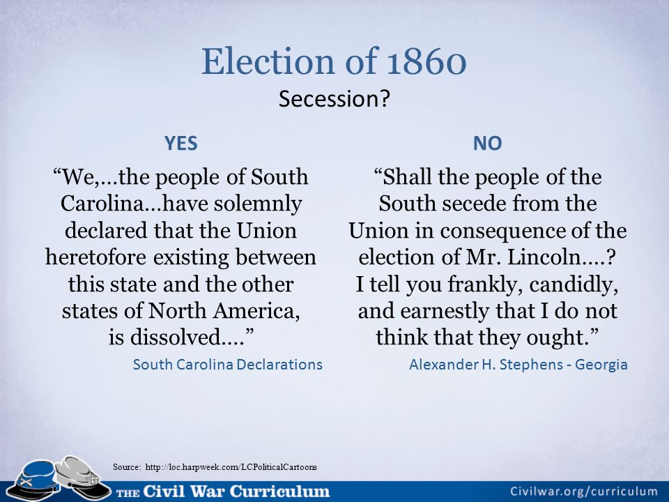 Source: http://loc.harpweek.com/LCPoliticalCartoons Election of 1860 Secession.