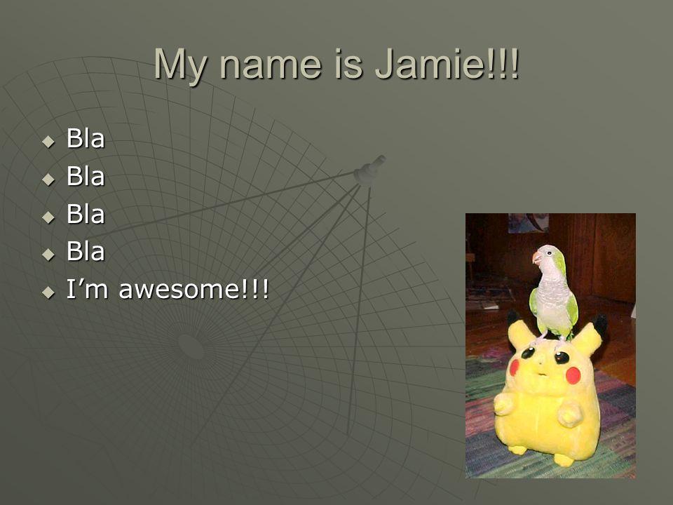My name is Jamie!!!  Bla  I'm awesome!!!