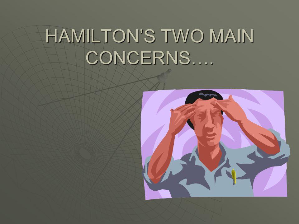 HAMILTON'S TWO MAIN CONCERNS….