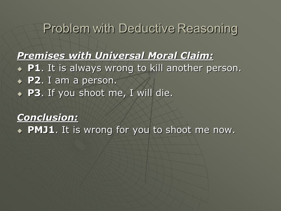 Problem with Deductive Reasoning Premises with Universal Moral Claim:  P1.