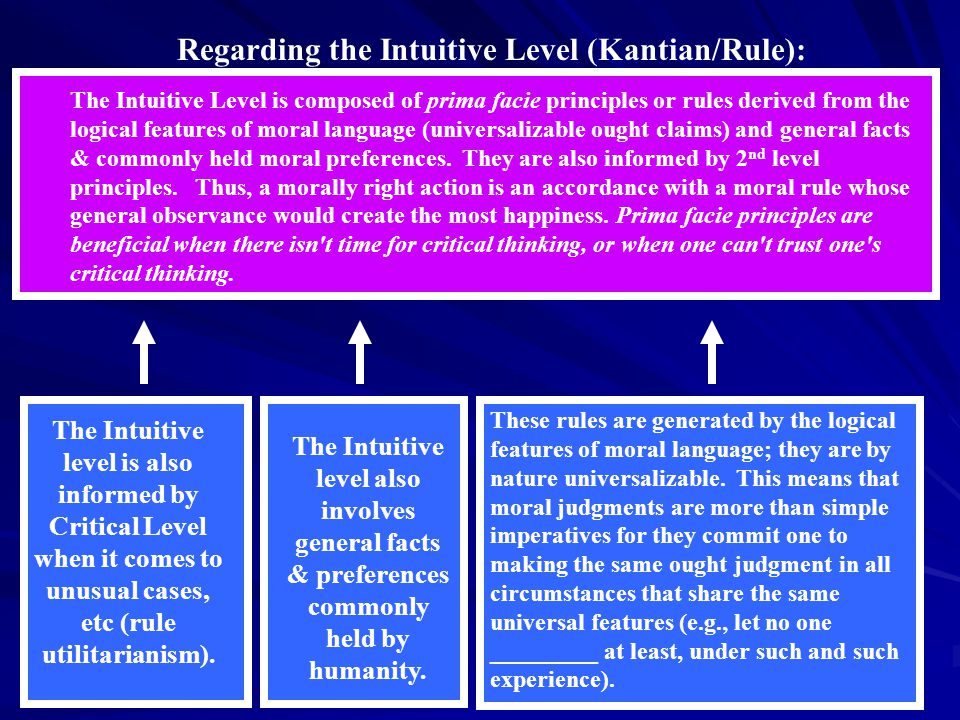 The Intuitive Level is composed of prima facie principles or rules derived from the logical features of moral language (universalizable ought claims) and general facts & commonly held moral preferences.