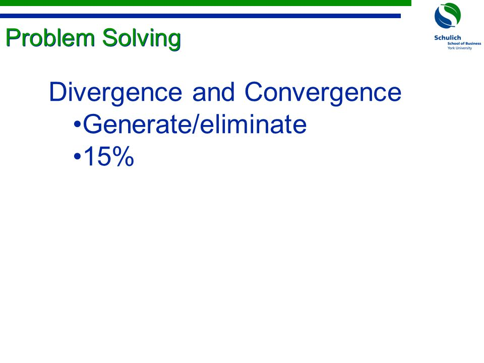 Problem Solving Divergence and Convergence Generate/eliminate 15%