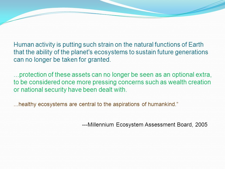 Human activity is putting such strain on the natural functions of Earth that the ability of the planet s ecosystems to sustain future generations can no longer be taken for granted....protection of these assets can no longer be seen as an optional extra, to be considered once more pressing concerns such as wealth creation or national security have been dealt with....healthy ecosystems are central to the aspirations of humankind. ---Millennium Ecosystem Assessment Board, 2005