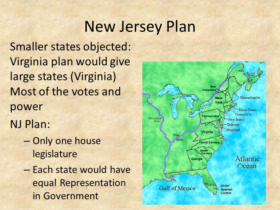 New Jersey Plan Smaller states objected: Virginia plan would give large states (Virginia) Most of the votes and power NJ Plan: – Only one house legisl