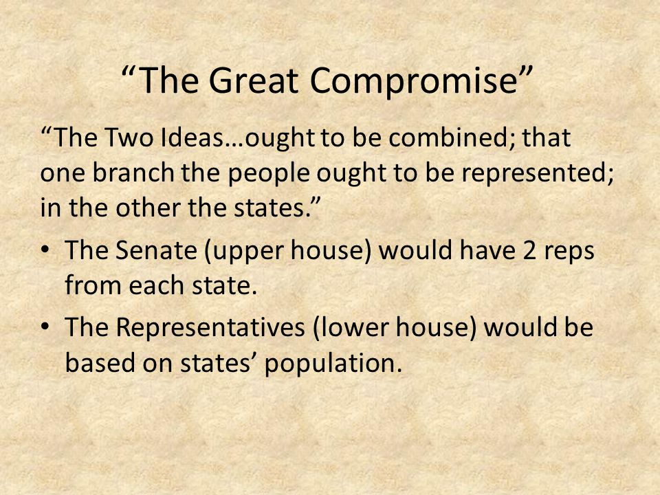 """The Two Ideas…ought to be combined; that one branch the people ought to be represented; in the other the states."" The Senate (upper house) would have"