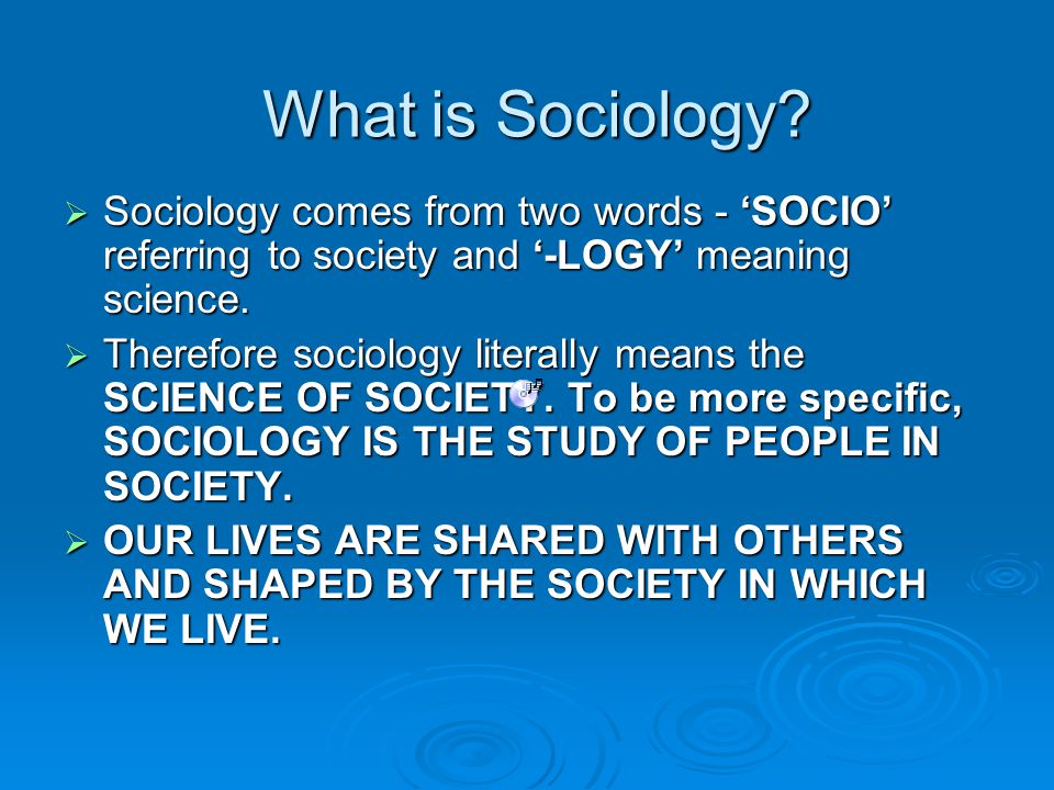 An introduction to Sociology?