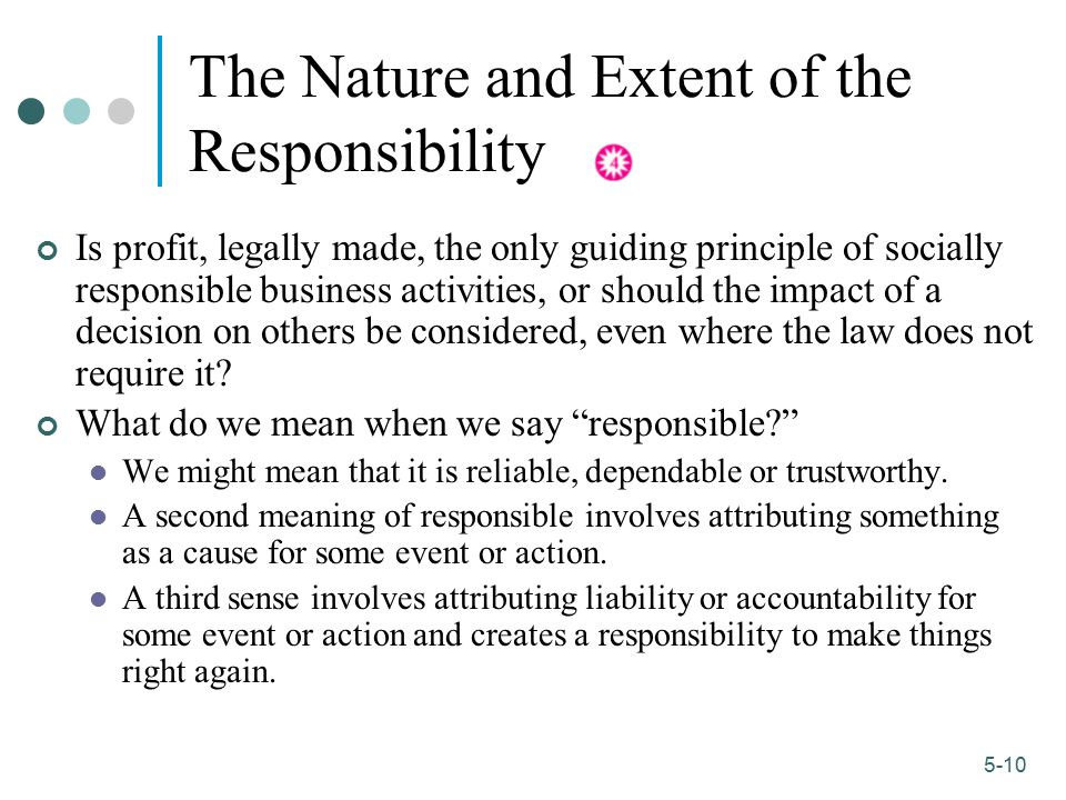 1-10 5-10 The Nature and Extent of the Responsibility Is profit, legally made, the only guiding principle of socially responsible business activities,