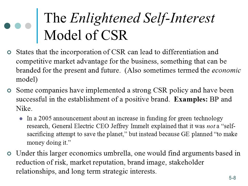1-8 5-8 The Enlightened Self-Interest Model of CSR States that the incorporation of CSR can lead to differentiation and competitive market advantage f