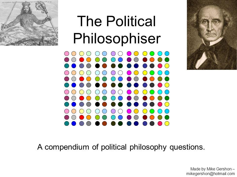 The Political Philosophiser A compendium of political philosophy questions.