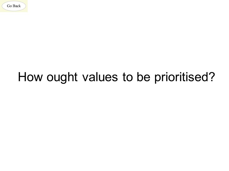 How ought values to be prioritised?