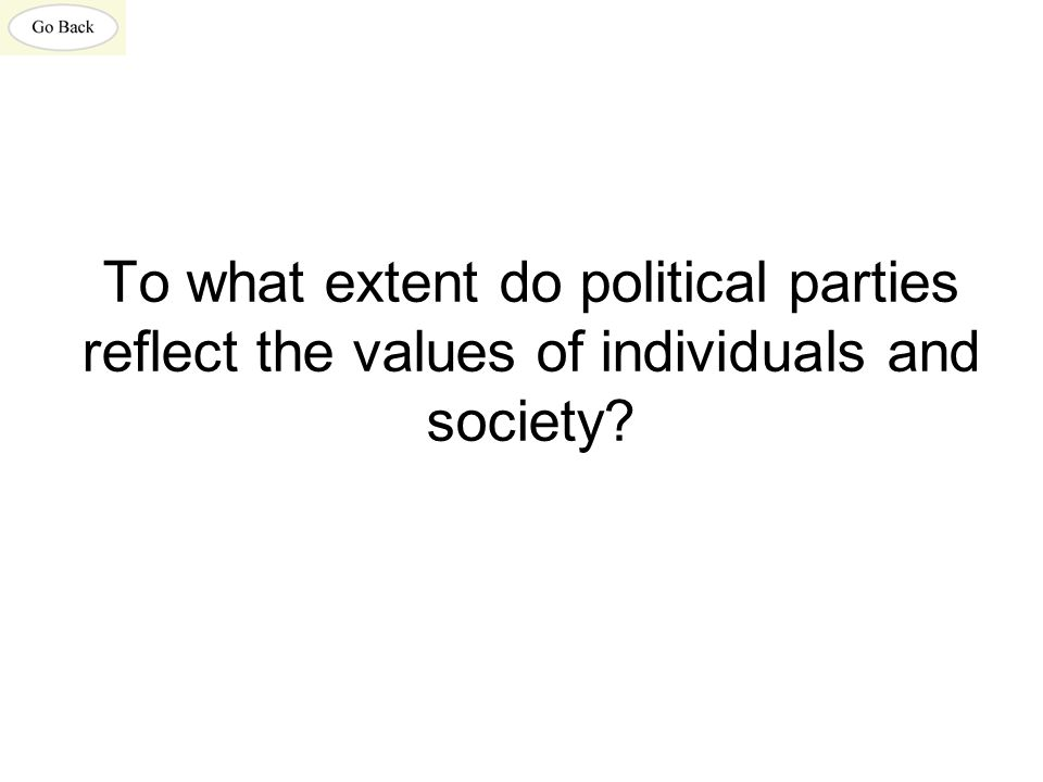 To what extent do political parties reflect the values of individuals and society?