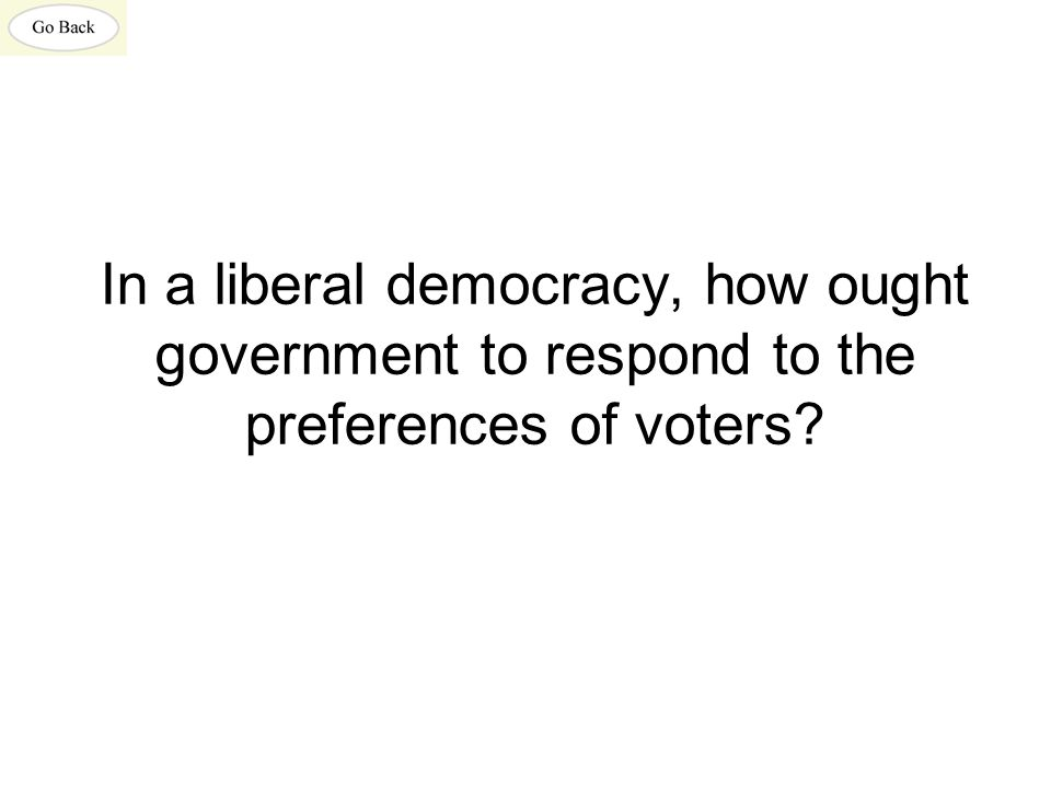 In a liberal democracy, how ought government to respond to the preferences of voters?