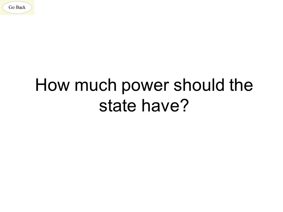 How much power should the state have?