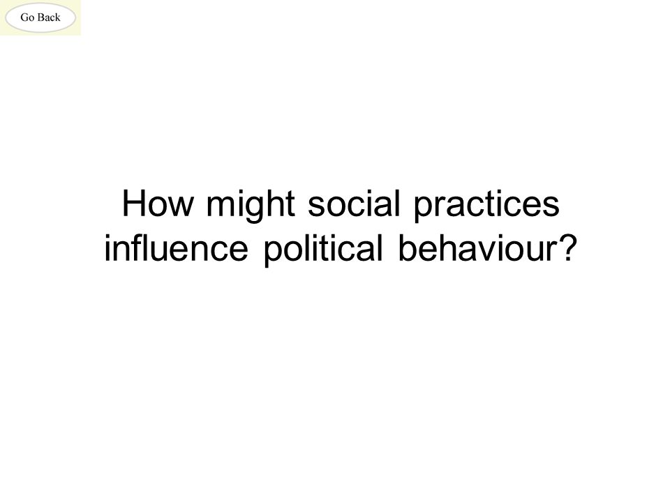 How might social practices influence political behaviour?