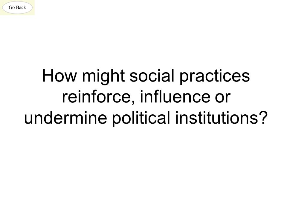 How might social practices reinforce, influence or undermine political institutions