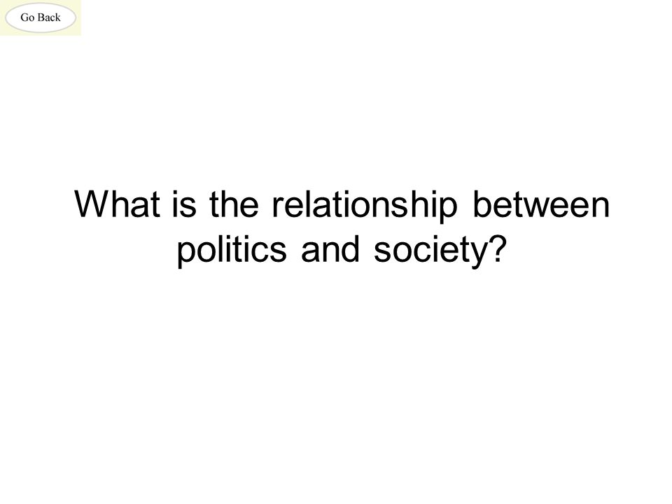What is the relationship between politics and society?