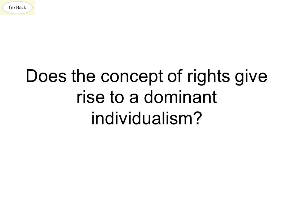 Does the concept of rights give rise to a dominant individualism