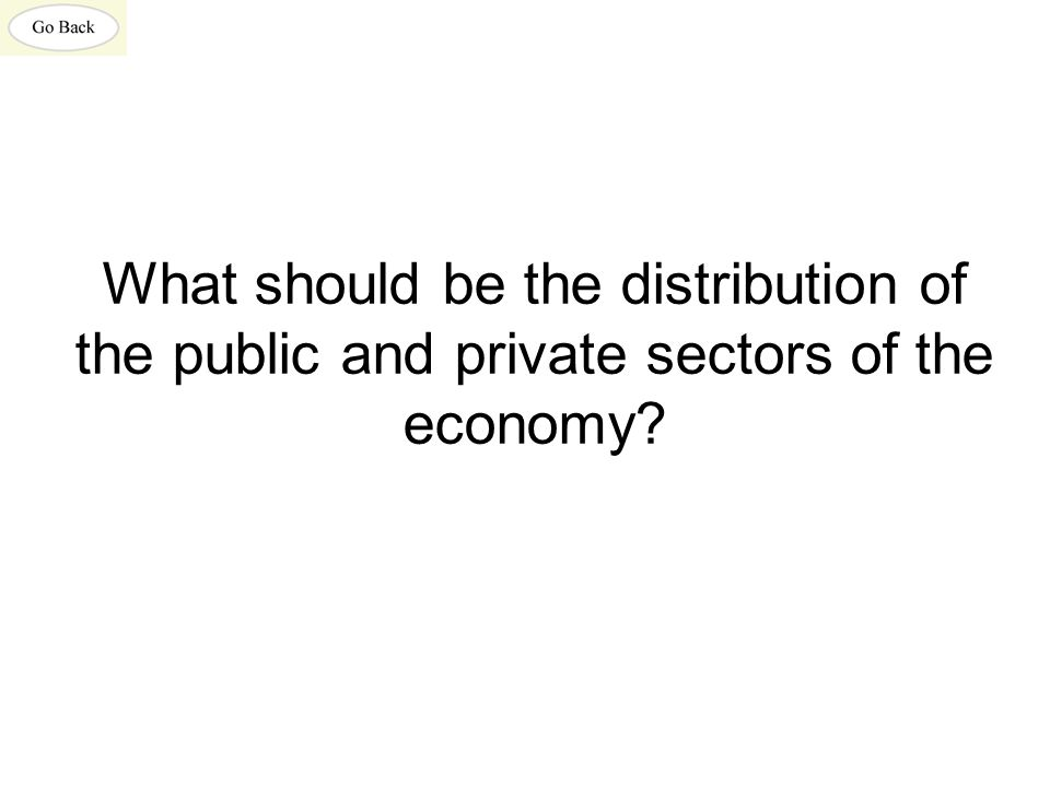 What should be the distribution of the public and private sectors of the economy
