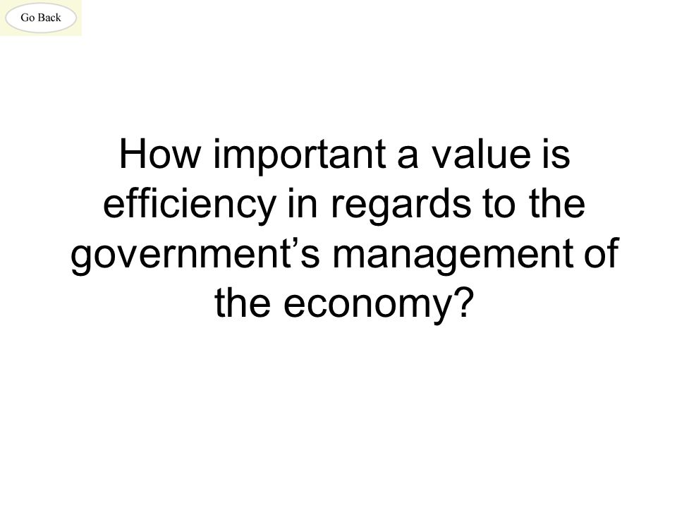 How important a value is efficiency in regards to the government's management of the economy?