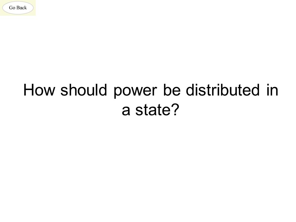How should power be distributed in a state?